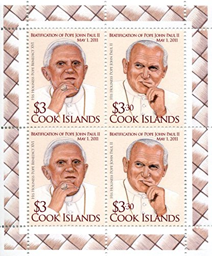 Cook Islands Stamps: 4 Stamp Minisheet, 2012, Beatification of Pope John Paul II, (Cook Islands Stamps)