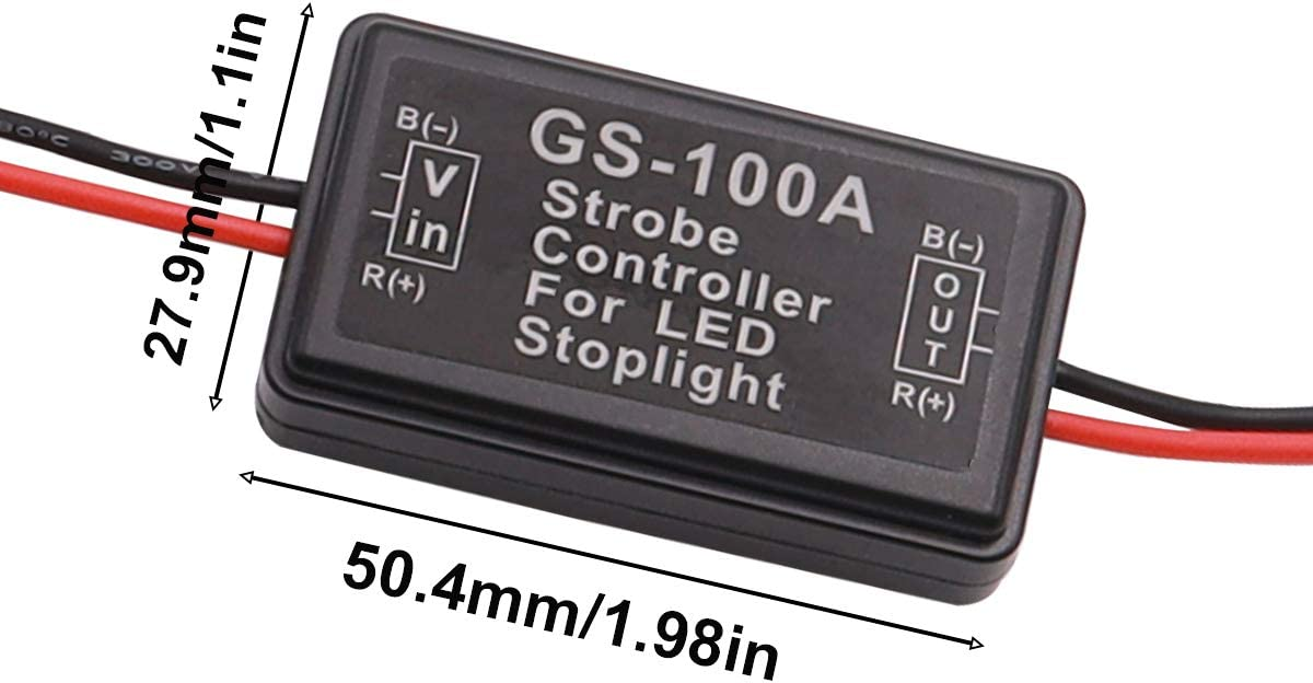 smseace 1PCS GS-100A Strobe Controller for LED Stoplight 12-24V Good Waterproof and dust Proof Flashing Strobe Blinking Controller Flasher Module GS-100A-1PCS