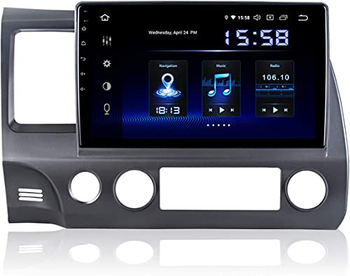 Dasaita 10 inch Screen Android 9.0 Car Stereo for Honda Civic 2006 to 2011 Radio Build in Carplay Android Auto GPS Single Din Navigation 4G Ram 64G ROM DSP System 15Band EQ Multimedia