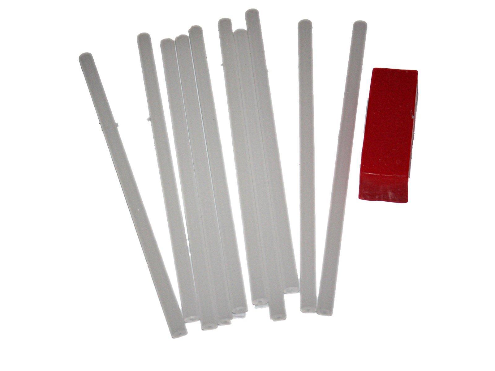 10 P-Tex PTex Rods sticks Light and Drip Candle clear/white Ptex P-tex Ski Snowboard Base Repair plus bonus 45 gram red all temp wax