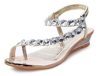 33ab7b4f8d6bd3 Fortuning s JDS 2016 New summer glitzy rhinestone thongs flat sandals for  women   girls  Amazon.co.uk  Shoes   Bags