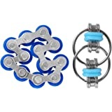Duerger Fidget Toys, Flippy Chain Fidget Toy & Twelve Roller Chain Toy Set: Lightweight Key Chain Fidget Toy for Autism, ADD, ADHD, Stress & Idle Hands for Adults and Kids- Blue