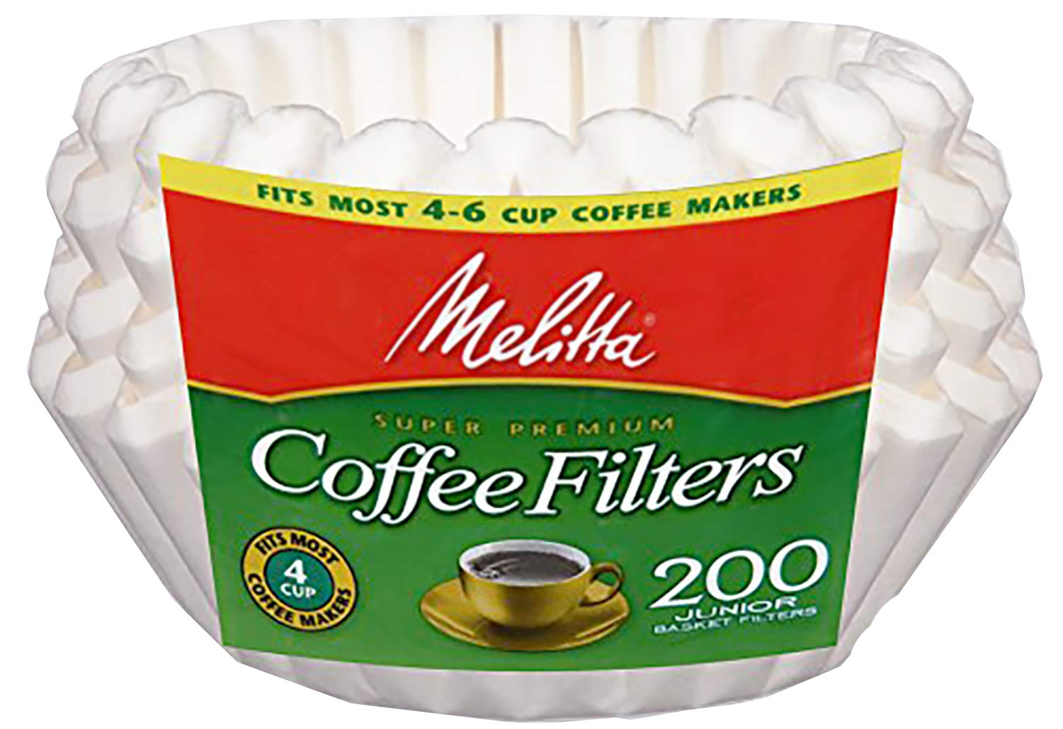 Melitta Basket Coffee Filters, White (8 to 12 Cup) 200 Count (Pack of 24) by Melitta