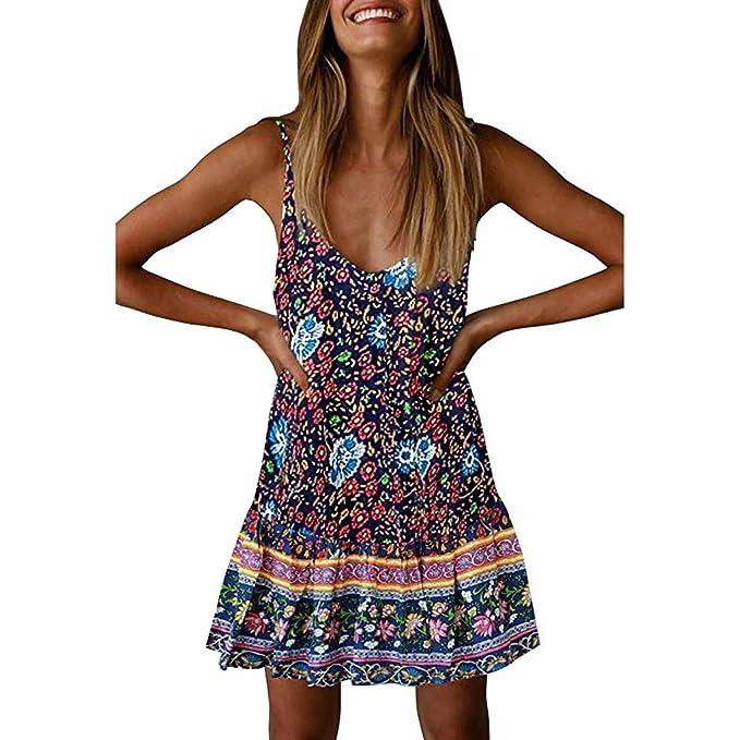 51867c351a6 Women s V Neck Ruffle Boho Flowers Print Sexy Backless Summer Beach Mini  Dress - Loose Casual Short T-Shirt Dress Teresamoon at Amazon Women s  Clothing ...