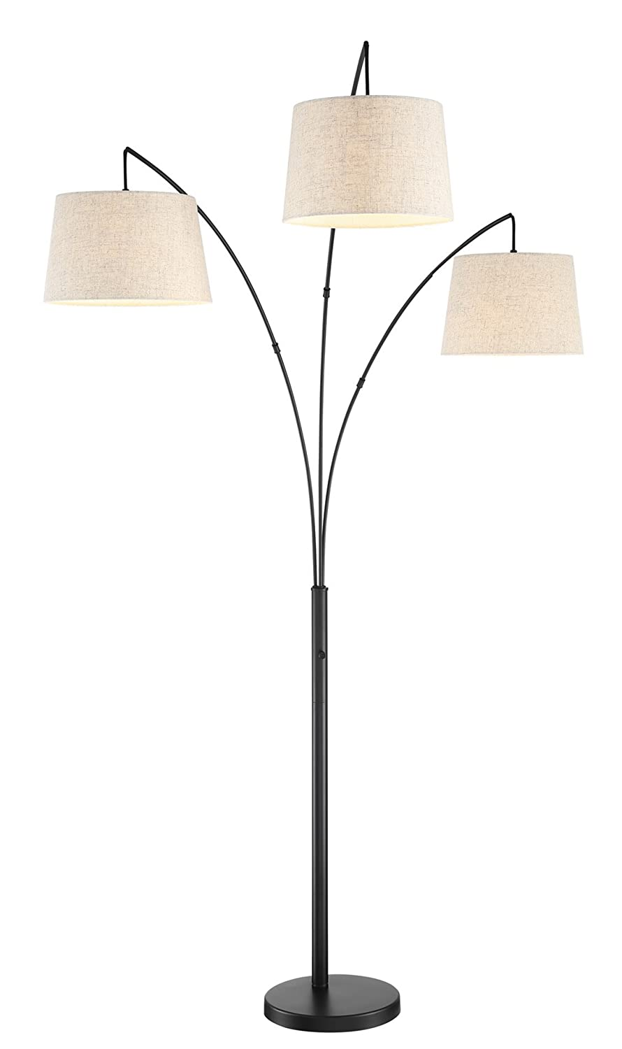 "Kira Home Akira 78.5"" Modern 3-Light Arc Floor Lamp with 3-Way Switch, Oatmeal Shades + Oil Rubbed Bronze Finish"