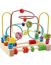 yoptote Giochi di Bead Maze in Legno Giochi Educativi Roller Coaster Animale Puzzle Giocattoli con 40 Pezzi Beads per Bambini 3 4 5 6 Anni