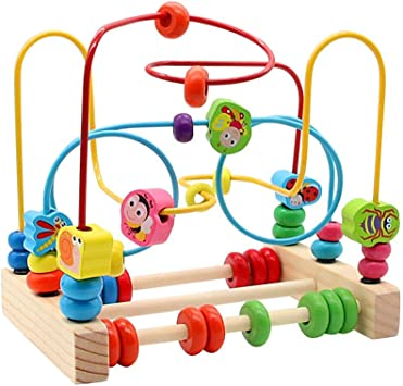 yoptote Wooden Beads Maze Roller Coaster Abacus Game Activity Cubes Wooden Blocks Frame Wire Toy Set for Kids Boys Girls over 3 Years Old
