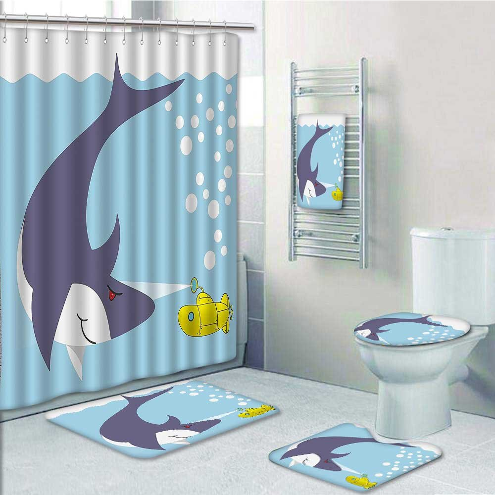 5-piece Bathroom Set-Includes Shower Curtain Liner,Yellow Sub Shark ...