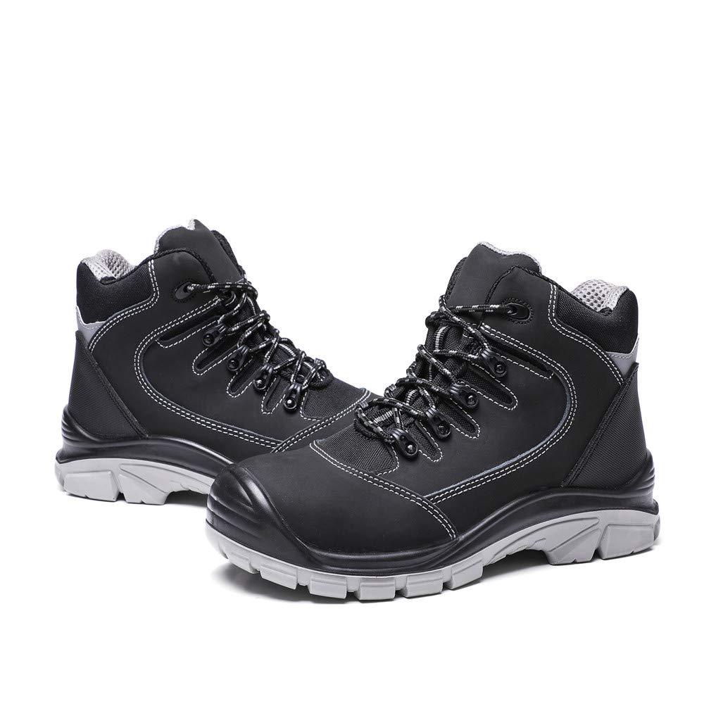 DRKA Men's Steel Toe Work Boots Water Resistant Safety Shoes(18950-blk-44) by DRKA