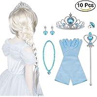 Vicloon 10Pcs Upgrade Princesa Vestir Accesorios - Peluca/Corona/Sceptre/Guantes