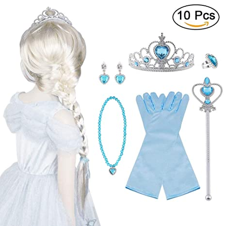 Vicloon 5Pcs Upgrade Princesa Vestir Accesorios - Peluca/Corona/Sceptre/Guantes para Niña