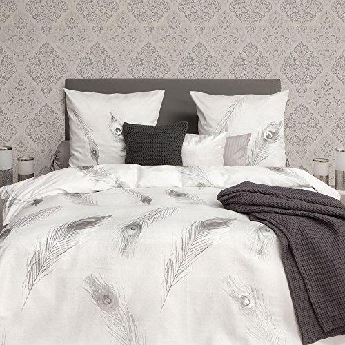 refined linge de lit HNL Refined Parure de lit en satin 100% coton Gris Denzel, 100  refined linge de lit