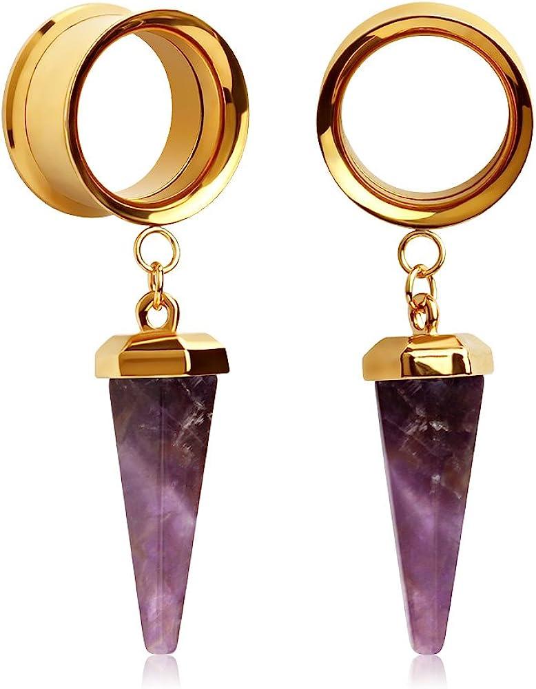 KUBOOZ 1 Par Colgante de Piedra de Amatista Tapones de oído de Acero Inoxidable Dorado Medidores de túneles Piercings de Camilla