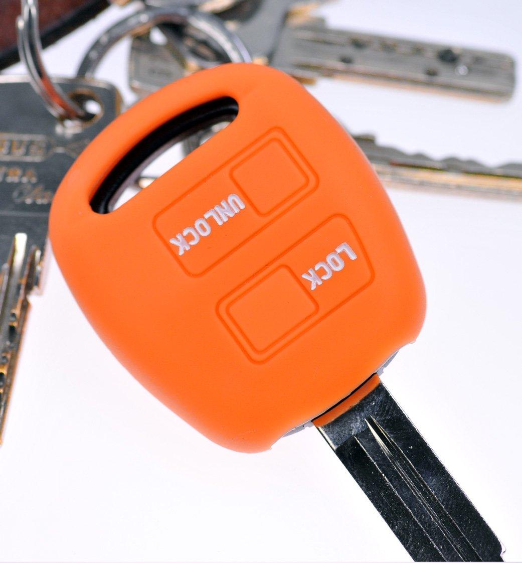 mt-key Soft Case Carcasa Llave de Coche Naranja para Toyota ...