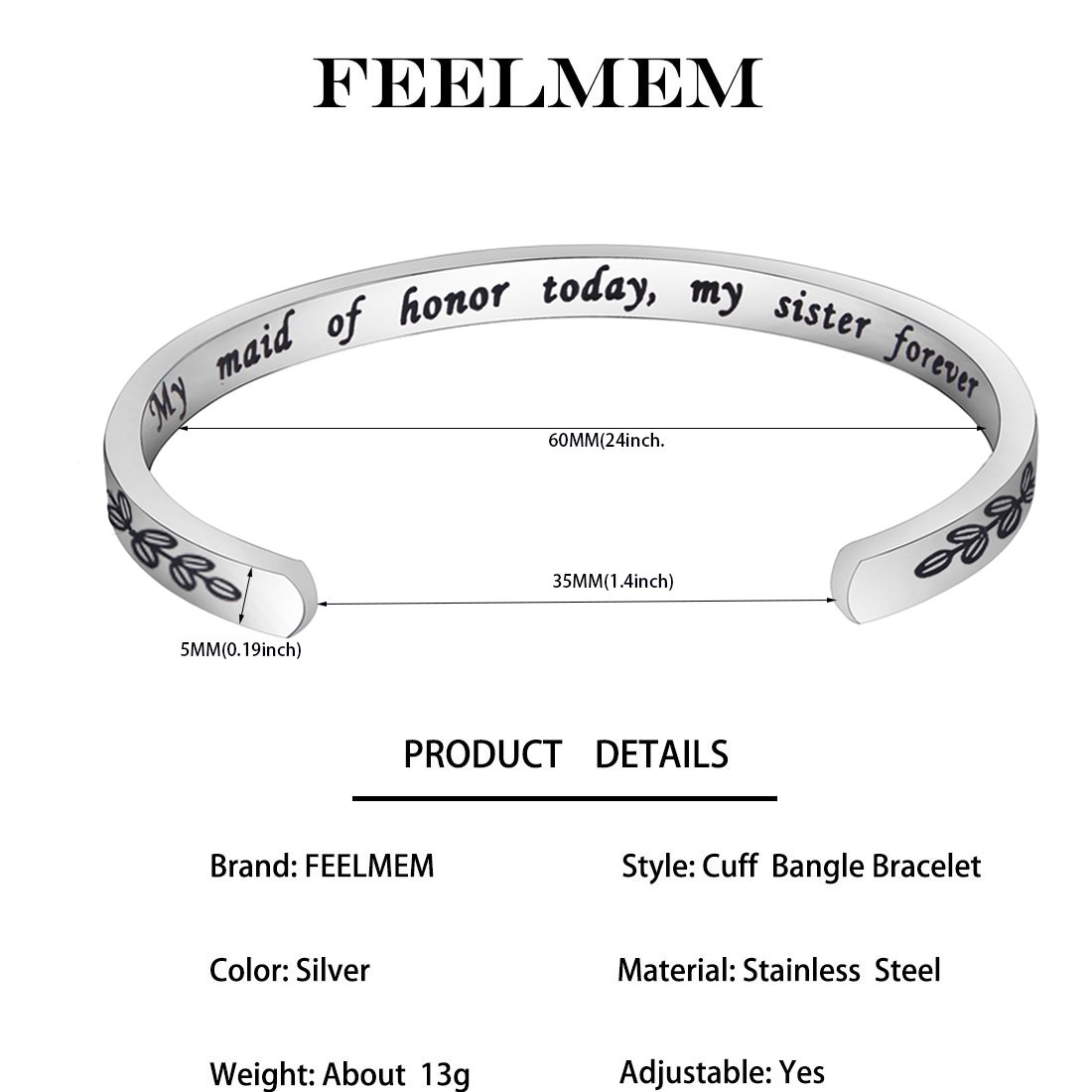 FEELMEM Bridesmaid Gift Maid of Honor Cuff Bangle Sister Wedding Bridesmaid Bracelet Jewelry Maid of Honor Proposal Gift