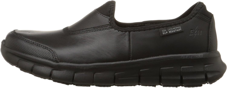 6 M US Black Skechers for Work Womens Sure Track Slip Resistant Shoe