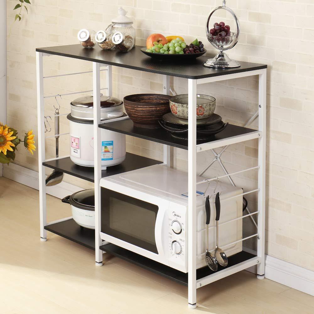 sogesfurniture 3-Tier+3-Tier Kitchen Baker's Rack Utility Storage Shelf Microwave Stand 35.4'' Storage Cart Workstation Shelf,Black Brown BHUS-171-BK