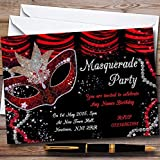 Red & Black Mask Masquerade Ball Personalized Party Invitations