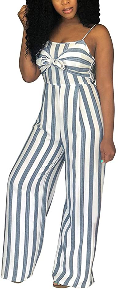 NEW Women Colorful Stripes Print Spaghetti Strap Wide Legs Casual Long Jumpsuit