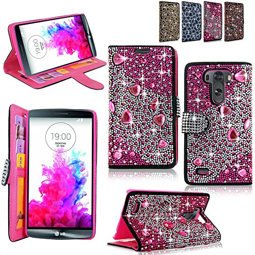 G3 Open Case - LG Optimus G3 Case - Cellularvilla Pu Leather Wallet Diamond Design Sparkle Glitter Card Flip Open Pocket Case Cover Pouch For LG G3 D850 D851 AT&T (Pink Silver)