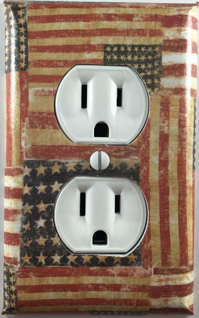 Rustic Americana American Flag Country Decor Outlet Wall Plate Cover