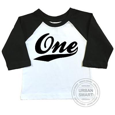 1st Birthday Raglan Shirt by Urban Smart. Number One With Swoosh Design.