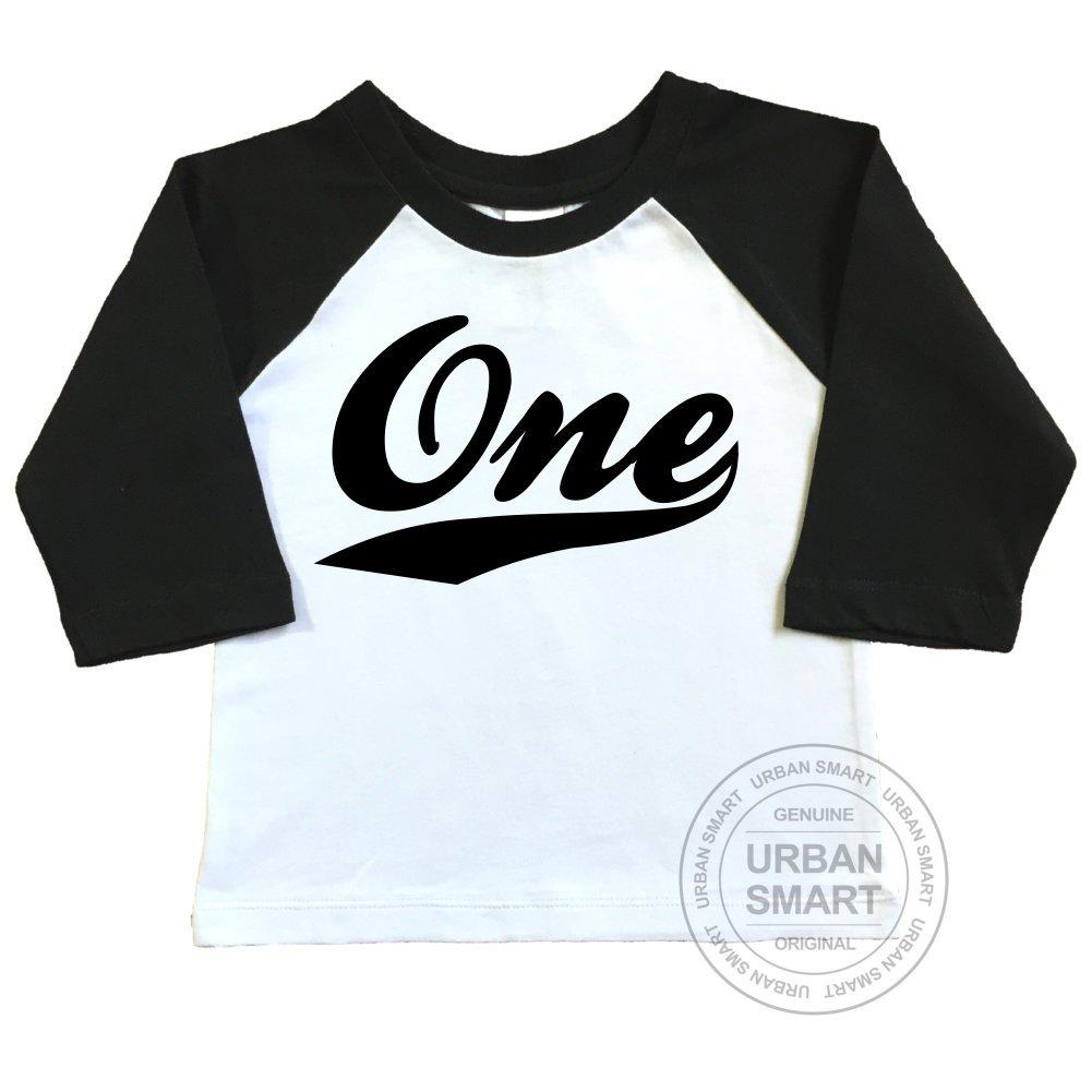Number One with Swoosh Design. 1st Birthday Raglan Shirt by Urban Smart