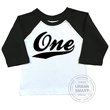 Amazon 1st Birthday Raglan Shirt By Urban Smart Number One With Swoosh Design Clothing