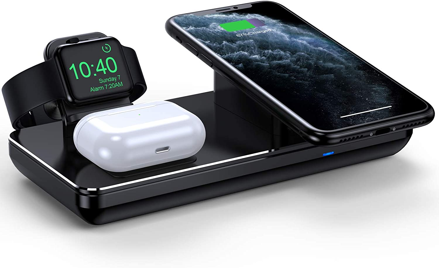 Wireless Charging Station for Apple Watch iPhone & AirPods Pro, Wireless Charger for iPhone 12/12 Pro/ 11/11 Pro/XR/XS Max/Xs/X/8, iWatch 5/4/3/2/1(Not Included Apple Watch Magnetic Charger)