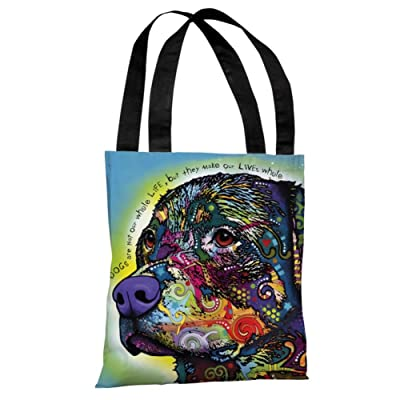 The Rottweiler with Text Tote Bag by Dean Russo by Dean Russo 18 x 18in