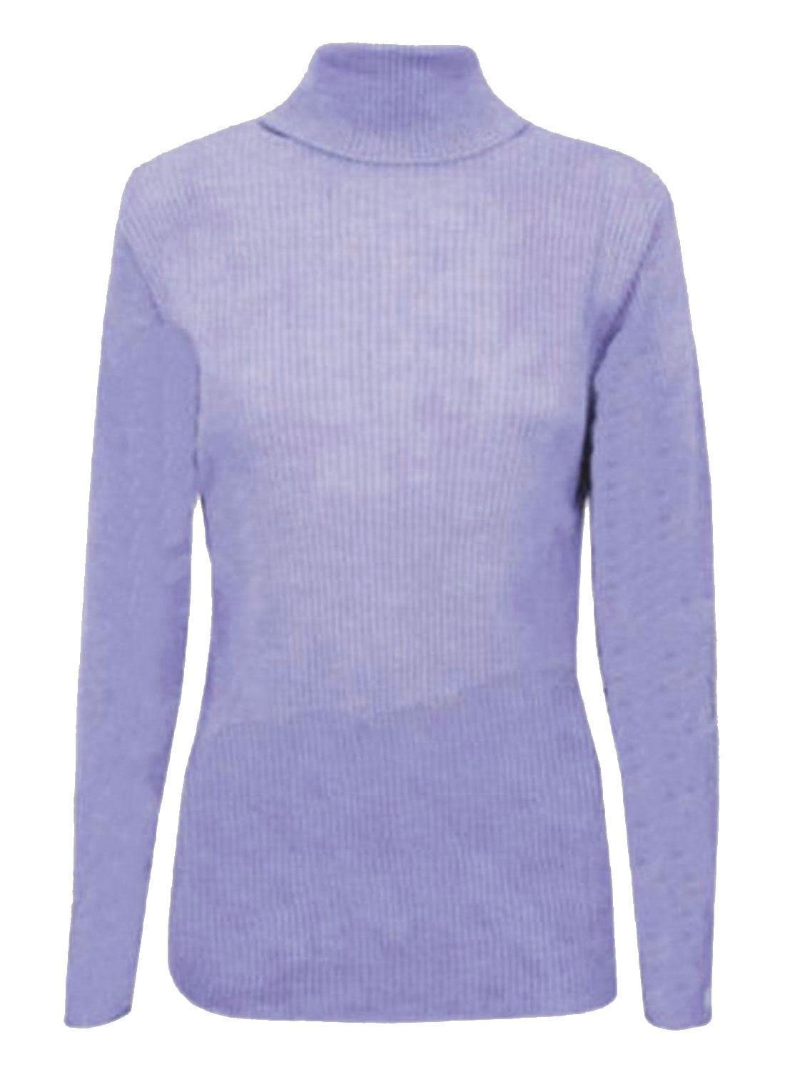 REAL LIFE FASHION LTD Womens Polo Turtle Neck Ribbed Jumper Top Ladies Full Sleeve Stretch Jumper Top#(Lilac Ribbed Polo Neck Jumper#US 12#Womens)