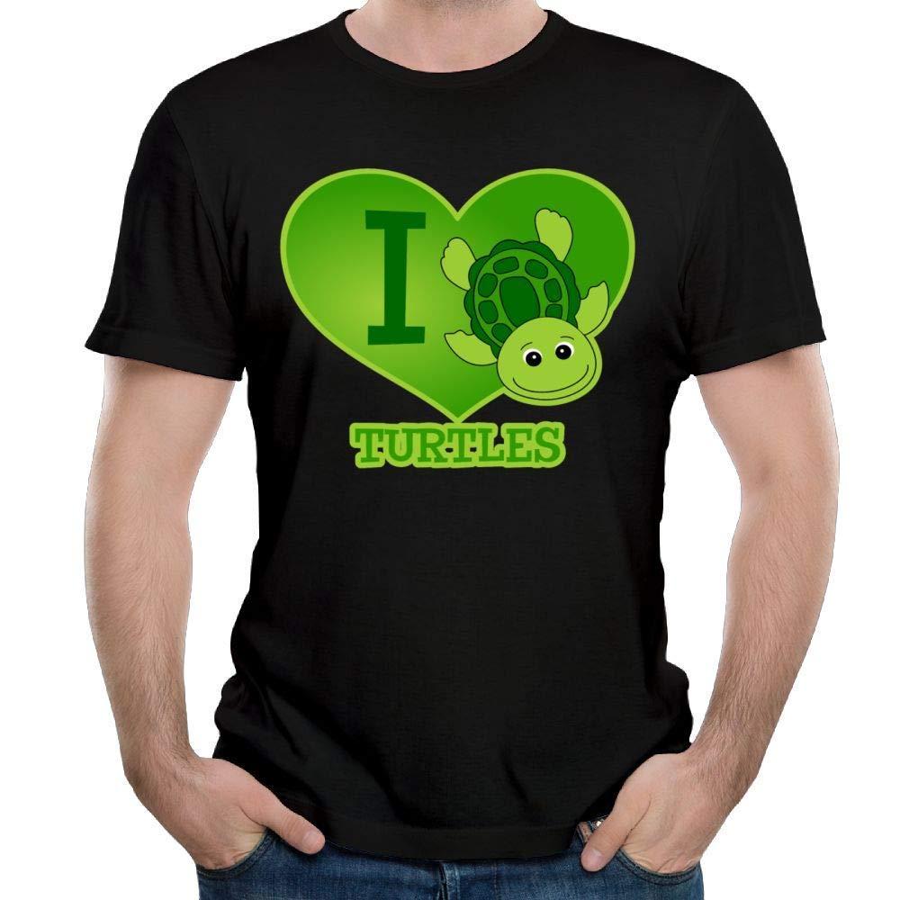 QQWBB Crewneck Short-Sleeve T-Shirt Cotton I Love Turtle for Mens