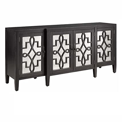 Charmant Stein World Furniture 4 Door Mirrored Credenza, Black