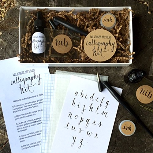 Beginner Set (Calligraphy Starter Kit - Beginner Calligraphy Lettering Set - Beginning Modern Calligraphy DIY Kit - Oblique Pen Hand Lettering with Nib)