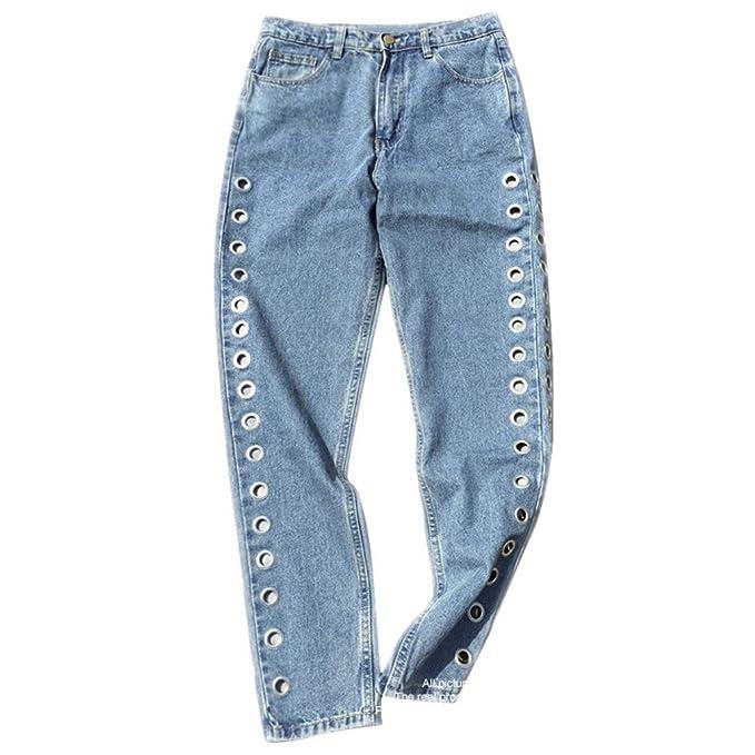 Jeans cintura alta Jeans Boyfriend Denim Jeans Mujeres ...