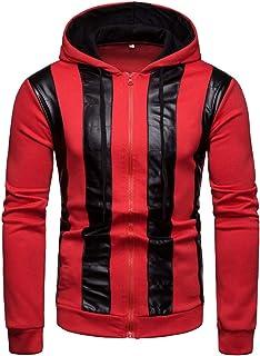 Blouse à Capuchon pour Hommes Automne Hiver Manteau Style de la Mode Pull Homme Garçon Pleine Manches Casual Mode Spliced Ribbon Manteau Bellelove