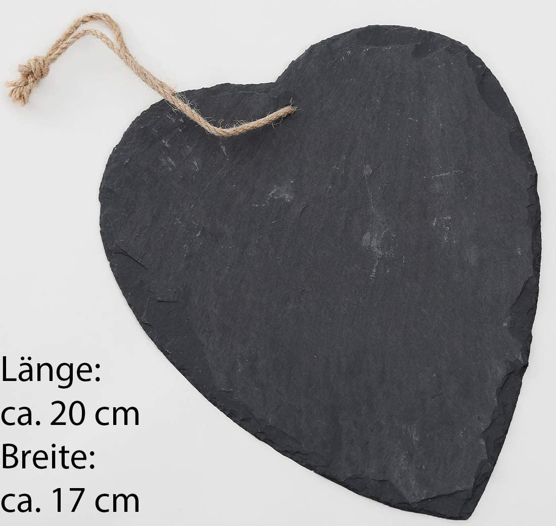 1, 6 cm Herz mit Clip Novaliv Schieferherz mit Clip zum Anstecken Dekoration Hochzeit