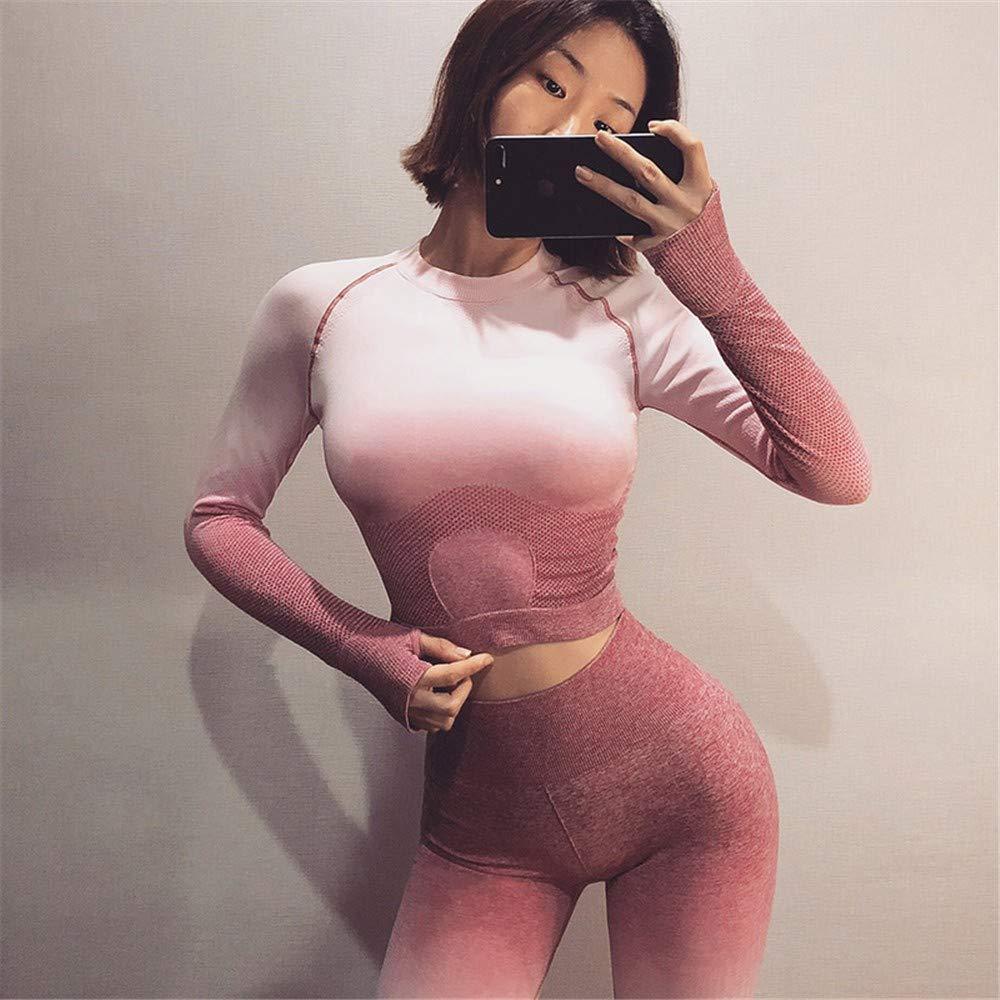 DAGUAISHOU Sports Top Crop Top Yoga Chemises pour Femmes sans Soudure à Manches Longues Workout Tops Gym Chemises avec Trou du Pouce Fitness Crop Top L