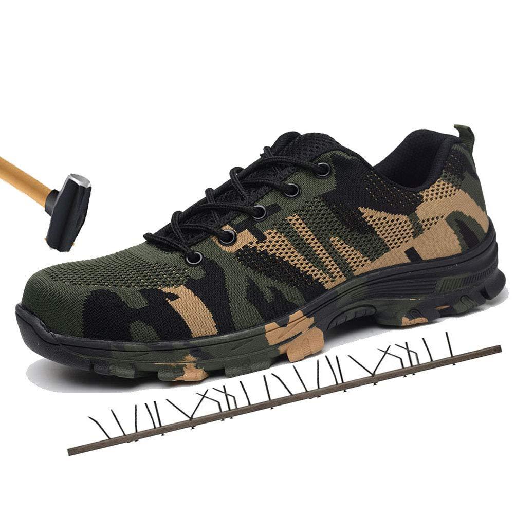 Minetom Chaussure de Sécurité Homme Femme Camouflage Respirant Chaussures Travail de Travail Chaussures avec Embout de Protection en Acier Semelle Unisexe Sneaker 39 EU|Armée Verte 3fb8a2
