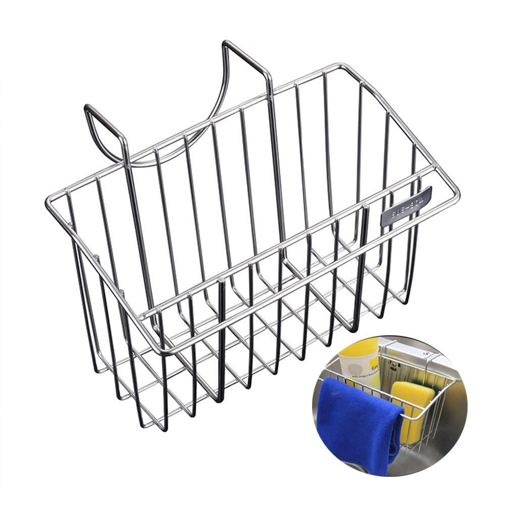 Sink Caddy/Kitchen Sponge Holder - Stainless Steel Brush Soap Dishwashing Liquid Drainer Rack