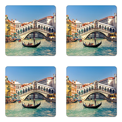 Ambesonne Venice Coaster Set of Four, Cityscape on a Sunny Day with Rialto Bridge Venetian Grand Canal Travel Destination, Square Hardboard Gloss Coasters for Drinks, Multicolor