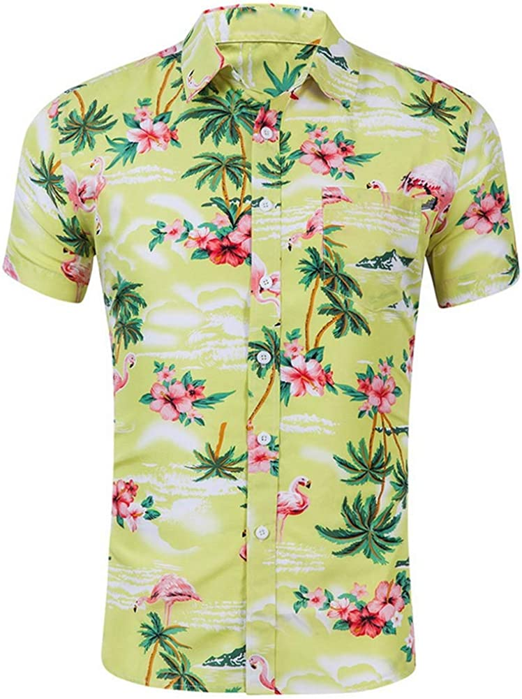 Style-3,S QHF Mens Hawaiian Printed Shirt Men Short Sleeve Shirt Casual Beach Shirts Slim