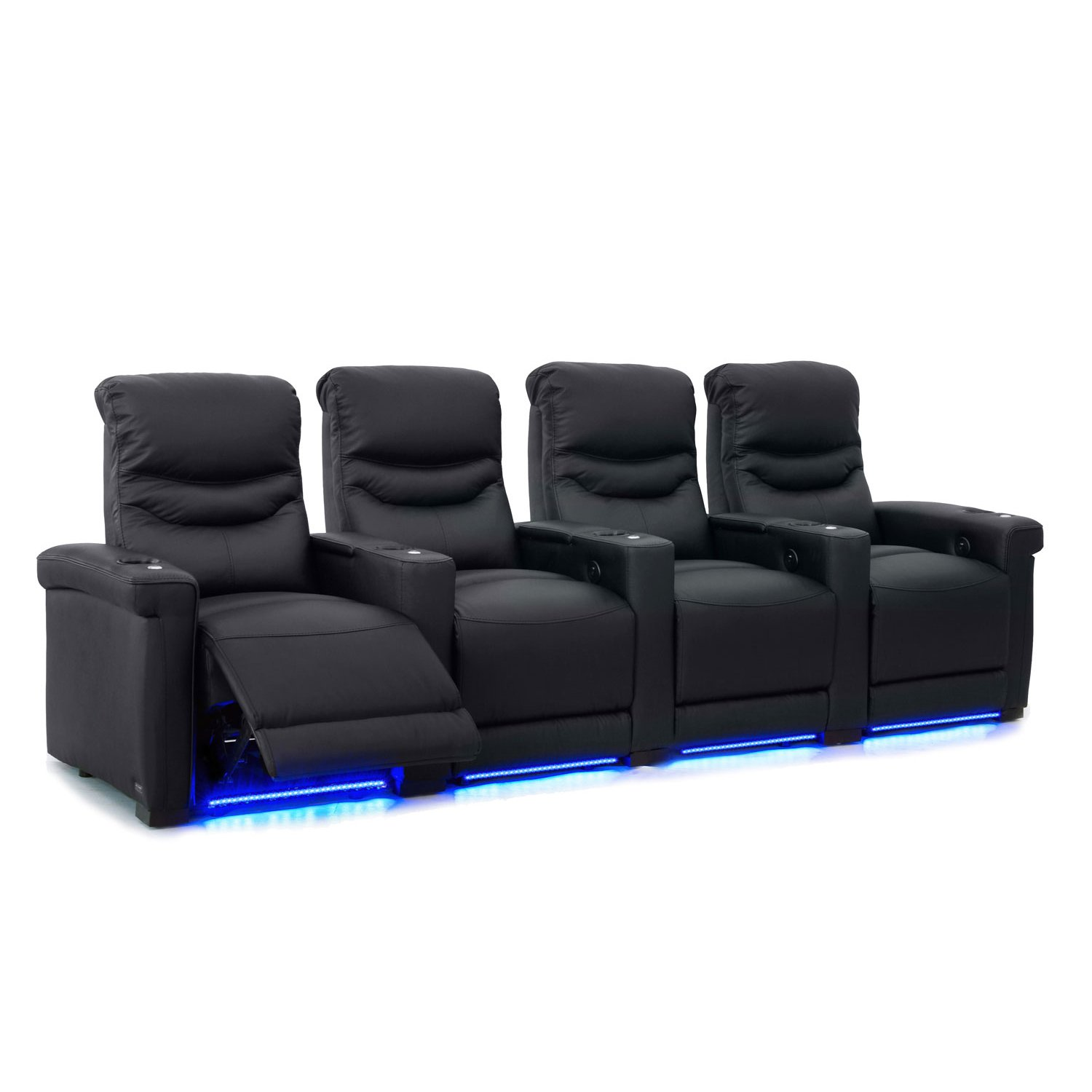 Octane Challenger XS700 Row of 4 Seats, Straight Row in Black Leather with Power Recline by Octane Seating