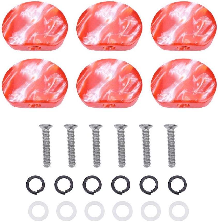 Dilwe Botón de Clavija de Afinación de Guitarra, 6 PCS/Set Tuning Pegs Cabezas de Maquinas Botones de Acrílico para Guitarra(# 2)