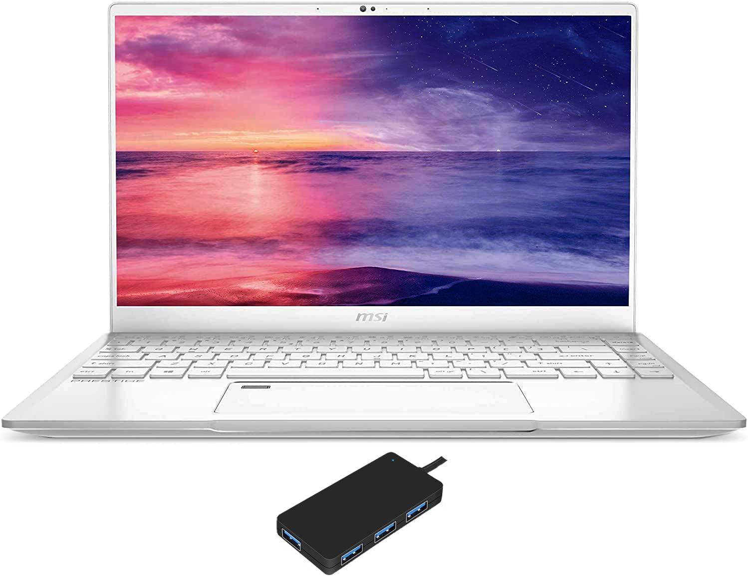 """MSI Prestige 14 A10SC-051 Gaming and Entertainment Laptop (Intel i7-10710U 6-Core, 16GB RAM, 2TB m.2 SATA SSD, NVIDIA GTX 1650 [Max-Q], 14.0"""" Full HD (1920x1080), Fingerprint, Win 10 Pro) with USB Hub"""