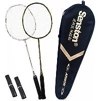 Senston Raquette de Badminton S-300 Raquette de Badminton Plein Carbone en Graphite avec boîtier de Protection de qualité supérieure