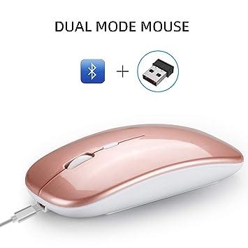 RONSHIN - Ratón inalámbrico Bluetooth de Doble Modo 2,4 G Ultra ...