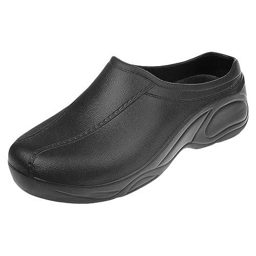 MagiDeal Zapatos de Enfermería Médico de Cocinero de Mujeres Hombres para Trabajar Plástico Sin Agujero Blanco/Negro - Negro, 37