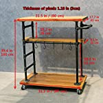 Industrial Portable Kitchen Island on Wheels,Bar Carts for the Home Wine Bar Beverage Coffee Cart,Metal Rolling kitchen…