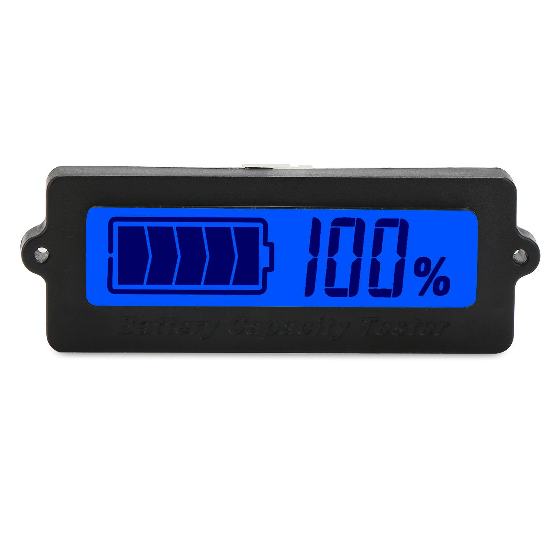 DROK/® DC 8-63V Blu Digital LCD Battery Capacity Tester agli ioni di litio della batteria elettrica Quantit/à Detector 12V // 24V // 36V // 48V batteria al piombo Indicatore di stato dellautomobile del veicolo auto del tester della batteria